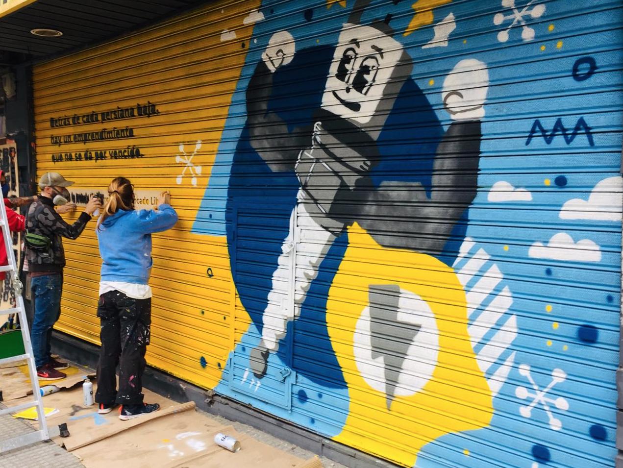 murales con pintura fotocatalítica, pintura que absorbe co2 murales urbanos persianas 1